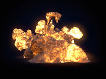 Large fireball isolated on dark background. 3d rendering. Large fireball isolated on dark background. Close up. 3d rendering Stock Image