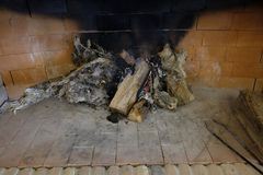 Large fireplace with wood. Fire Stock Images