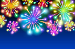 Large Fireworks Display - vector illustration background. Art Royalty Free Stock Photo