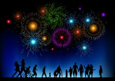Large Fireworks Party. A large group of peple watching a fireworks display. Vector Illustration Royalty Free Stock Photos