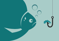 Large fish looking at a worm attached to the hook. Vector illustration Stock Photo