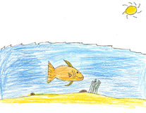 Large Fish Under the Sea Drawing Stock Photo