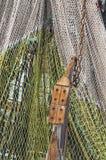 Large fishing net hanging vertical stock photo
