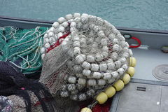 Large fishing nets with floats. Royalty Free Stock Photography