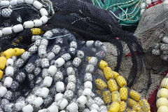 Large fishing nets with floats. Stock Photo