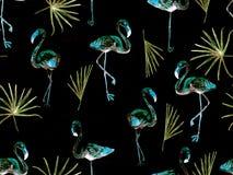 Large flamingo blue hawaiian seamless pattern. Large hipster flamingo blue hawaiian seamless pattern. Spring saturated watercolor t-shirt print. Minimalistic stock image