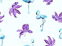 Large flamingo blue hawaiian seamless pattern. Large hipster flamingo blue hawaiian seamless pattern. Spring saturated watercolor t-shirt print. Minimalistic royalty free stock photography