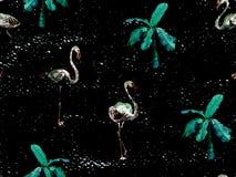 Large flamingo green hawaiian seamless pattern. Large flamingo hipster green hawaiian seamless pattern. Spring saturated watercolor t-shirt print. Saturated stock photos