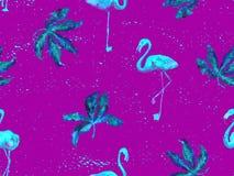 Large flamingo purple hawaiian seamless pattern. Large flamingo hipster purple hawaiian seamless pattern. Summer tropical birds watercolor endless print royalty free stock photos