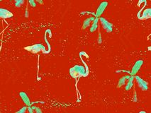 Large flamingo red hawaiian seamless pattern. Large flamingo hipster red hawaiian seamless pattern. Spring saturated watercolor t-shirt print. Saturated hipster stock illustration