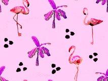 Large flamingo red hawaiian seamless pattern. stock image