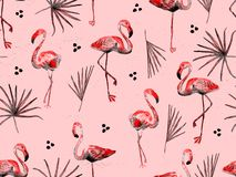 Large flamingo red hawaiian seamless pattern. Royalty Free Stock Images