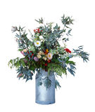 Large Floral Arrangement in an Old Milk Can Stock Photography