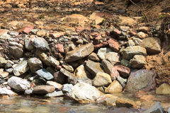 Large flow of the river. Water of the mountain river and a large stone Stock Image