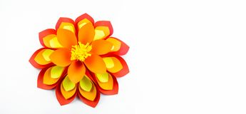 A large flower Banner paper orange-red yellow colors stock photos