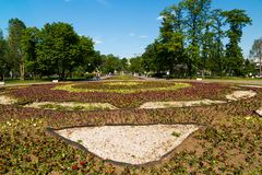 Large flower bed on Bolotnaya Square in Moscow, Russia. Large flower bed on Bolotnaya Square in Moscow in Russia stock photography