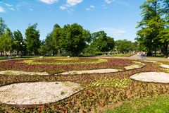 Large flower bed on Bolotnaya Square in Moscow, Russia. Large flower bed on Bolotnaya Square in Moscow in Russia royalty free stock images
