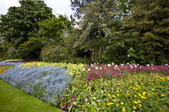 Large flower bed and trees Stock Photo
