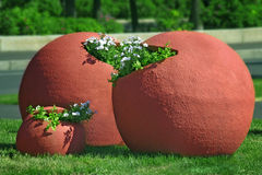 Large flower pots. Close up of large flower pots stock photos
