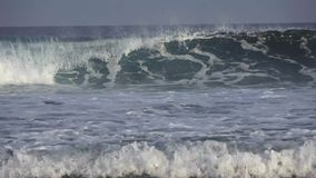 Large foamy waves in the Indian Ocean. Maldives video. Horizontal stock video footage