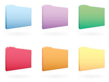 Large Folder Icons EPS. A set of six large various colored folder icons. Available in vector EPS Royalty Free Stock Photos
