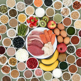 Large Food Selection for Body Builders Stock Photos