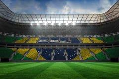 Large football stadium with brasilian fans Royalty Free Stock Photo