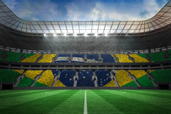 Large football stadium with brasilian fans Royalty Free Stock Image