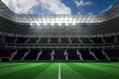 Large football stadium with empty stands Royalty Free Stock Photography