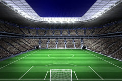 Large football stadium with lights Royalty Free Stock Photo