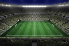 Large football stadium with lights Royalty Free Stock Images