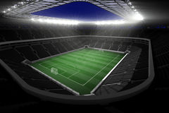 Large football stadium with lights Stock Image