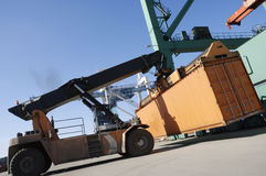 Large forklift-truck in port Stock Photo