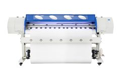 Large format ink jet printer on white background. Vinyl printout machine for use in sticker or poster billboard industry. Large format ink jet printer on white stock photography