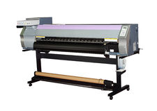 Large format inkjet printer. For outdoor billboards printing isolated on white stock photography