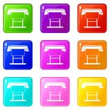 Large format inkjet printer icons 9 set. Large format inkjet printer icons of 9 color set isolated vector illustration Royalty Free Stock Images