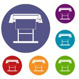 Large format inkjet printer icons set. In flat circle reb, blue and green color for web Stock Illustration