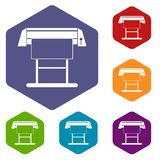 Large format inkjet printer icons set. Rhombus in different colors isolated on white background stock illustration