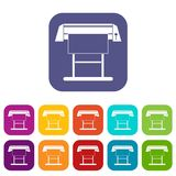 Large format inkjet printer icons set. Vector illustration in flat style In colors red, blue, green and other Royalty Free Stock Images