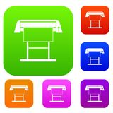 Large format inkjet printer set collection. Large format inkjet printer set icon in different colors isolated vector illustration. Premium collection Royalty Free Illustration