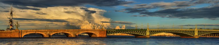 Large-format panorama of the Trinity bridge in St. Petersburg. Large-format summer panorama of the Trinity bridge in St. Petersburg on the background of royalty free stock photos