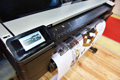 Large format printing. On a color plotter royalty free stock image