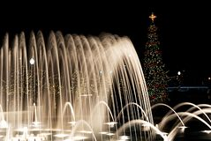 A large fountain with a Christmas tree in the background. stock image