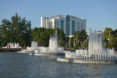 The large fountain in front of the main square in Tashkent. Tashkent, Uzbekistan - July 02 2014: The large fountain in front of the main square in Tashkent Stock Photography