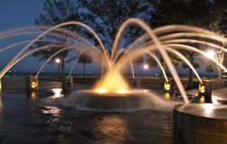 Charleston Waterfront Park. A large fountain marks the northern end of Waterfront Park, an eight acre park along the Cooper River in Charleston, South Carolina Royalty Free Stock Photo