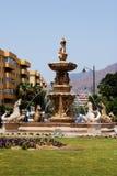 Large fountain with mermaids and seahorses, Estepona. Fountain at the junction of Avenida Juan Carlos I and the Avenida de Espana, Estepona, Malaga Province royalty free stock photos