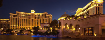 Large fountain pool in front of Bellagio and Caesar hotels Stock Photography