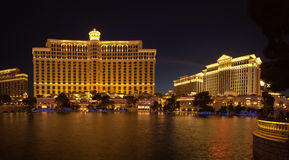 Large fountain pool in front of Bellagio and Caesar hotels Stock Photo