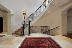 Large foyer with circular staircase Stock Photography