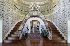Large foyer with double staircase. Large foyer in luxury home with double staircase Royalty Free Stock Photos